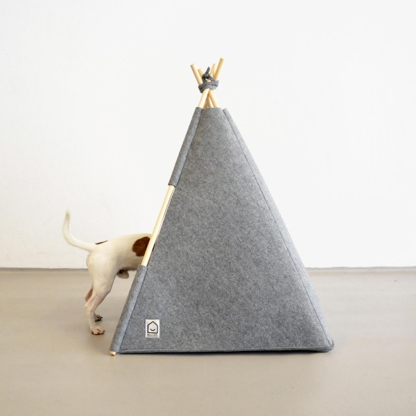 Grey felt teepee for dogs or cats 3