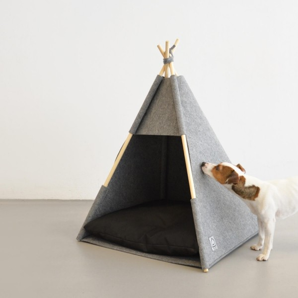 Grey felt teepee for dogs or cats 5