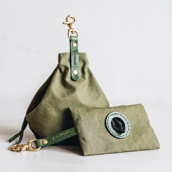 Green poop & treat bag dog walking set