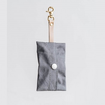 Grey canvas poop bag holder NOI