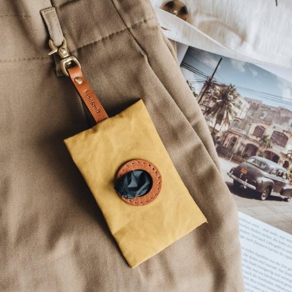 Yellow canvas poop bag holder NOI