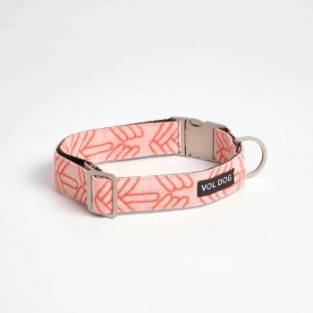 Kvadrat fabric dog collar LOLA CORAL