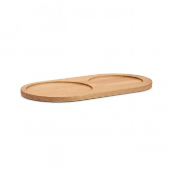 MiaCara Doppio oak food & water bowl tray